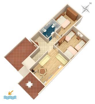 Podstrana, Pôdorys v ubytovacej jednotke apartment, domáci miláčikovia povolení a WiFi.