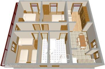 Brodarica, Plan in the apartment.