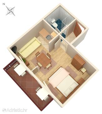 Rastovača, Plan in the studio-apartment, dopusteni kucni ljubimci i WIFI.