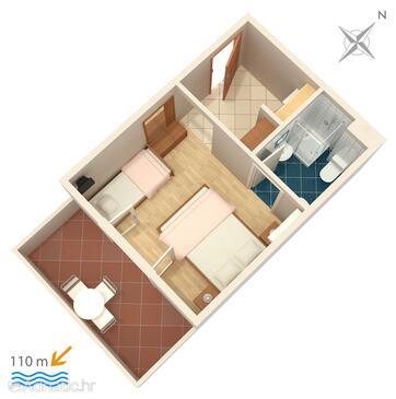 Balića Rat, Plan in the studio-apartment, WIFI.