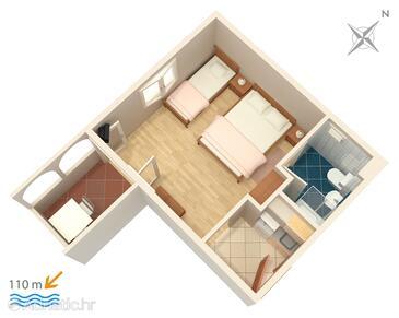 Balića Rat, План в размещении типа studio-apartment, WiFi.