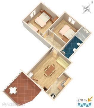 Srima - Vodice, Plan in the apartment, WIFI.