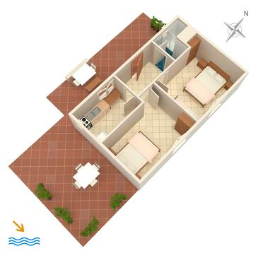 Uvala Torac, Plan in the apartment.