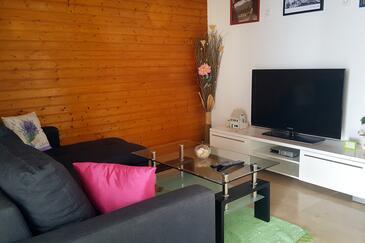 Živogošće - Porat, Pokój dzienny w zakwaterowaniu typu apartment, dopusteni kucni ljubimci i WIFI.