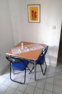 Krvavica, Dining room in the studio-apartment, dopusteni kucni ljubimci.