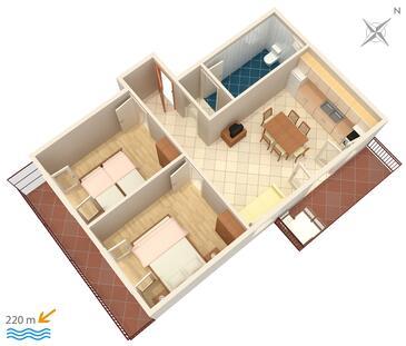 Grebaštica, Plan kwatery w zakwaterowaniu typu apartment, zwierzęta domowe są dozwolone i WiFi.