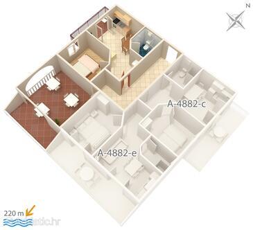 Grebaštica, План в размещении типа apartment, Домашние животные допускаются и WiFi.