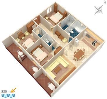 Drvenik Gornja vala, Plan kwatery w zakwaterowaniu typu apartment, dopusteni kucni ljubimci i WIFI.