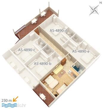 Drvenik Gornja vala, Plan in the studio-apartment, dopusteni kucni ljubimci i WIFI.
