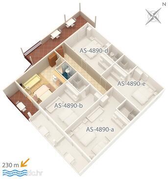 Drvenik Gornja vala, План в размещении типа studio-apartment, Домашние животные допускаются и WiFi.