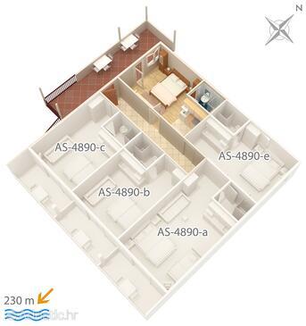 Drvenik Gornja vala, Půdorys v ubytování typu studio-apartment, domácí mazlíčci povoleni a WiFi.
