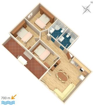 Igrane, Načrt v nastanitvi vrste apartment, WiFi.