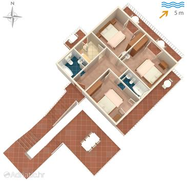 Okuklje, Plan in the apartment, dopusteni kucni ljubimci i WIFI.
