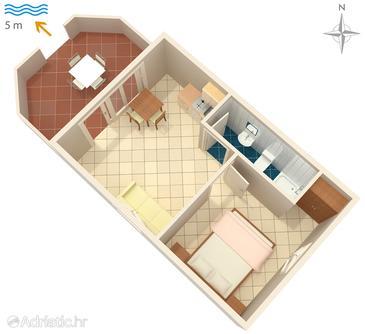 Pomena, Plan in the apartment, WIFI.