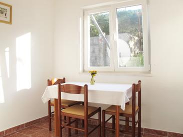 Polače, Dining room in the apartment, dostupna klima, dopusteni kucni ljubimci i WIFI.