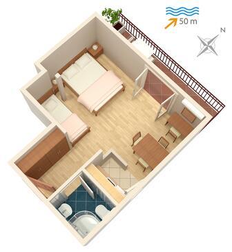 Saplunara, Plan kwatery w zakwaterowaniu typu studio-apartment, dopusteni kucni ljubimci i WIFI.