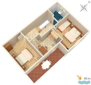 Okuklje, Půdorys v ubytování typu apartment, WiFi.