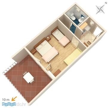Saplunara, Plan in the studio-apartment.