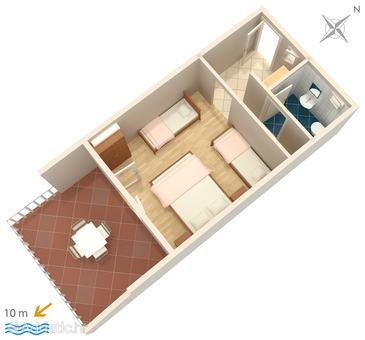 Saplunara, Plan in the studio-apartment.