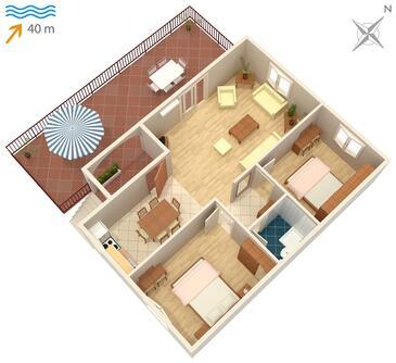 Kozarica, Půdorys v ubytování typu apartment, domácí mazlíčci povoleni.