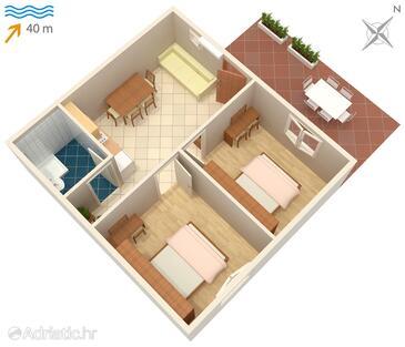 Kozarica, Alaprajz szállásegység típusa apartment, háziállat engedélyezve.