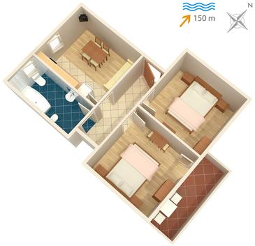 Supetarska Draga - Donja, Plan kwatery w zakwaterowaniu typu apartment, WIFI.