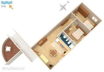 Supetarska Draga - Gornja, Plan in the apartment, WIFI.