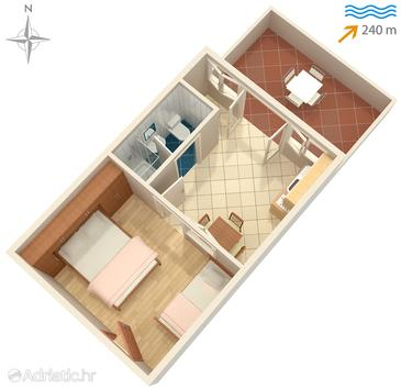 Lopar, Plan in the apartment, dopusteni kucni ljubimci i WIFI.