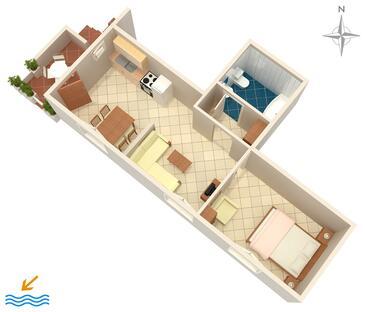 Banjol, Plan in the apartment, dopusteni kucni ljubimci i WIFI.
