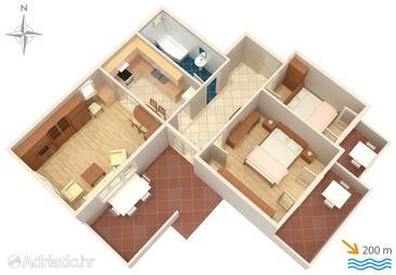 Kampor, План в размещении типа apartment, WiFi.