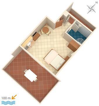 Barbat, Plan kwatery w zakwaterowaniu typu studio-apartment, WiFi.