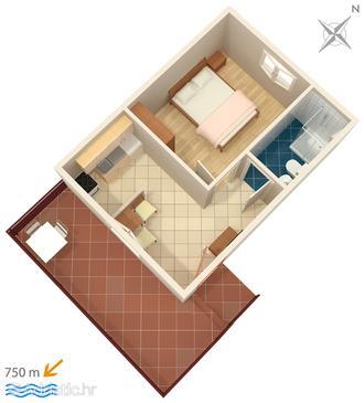 Barbat, Půdorys v ubytování typu apartment, domácí mazlíčci povoleni a WiFi.