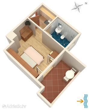 Supetarska Draga - Donja, Plan in the studio-apartment, dopusteni kucni ljubimci i WIFI.