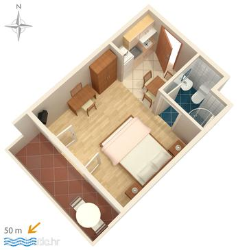 Palit, Plan in the studio-apartment, dopusteni kucni ljubimci i WIFI.
