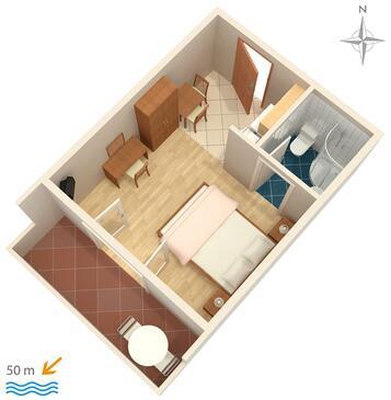 Palit, Plan kwatery w zakwaterowaniu typu studio-apartment, dopusteni kucni ljubimci i WIFI.