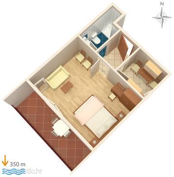 Palit, Plan kwatery w zakwaterowaniu typu apartment.