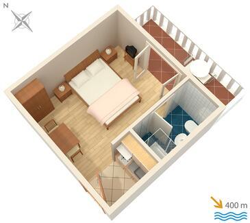 Barbat, Plan in the studio-apartment, WIFI.