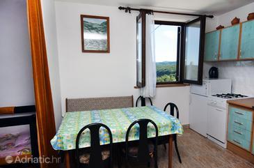 Poljanak, Dining room in the studio-apartment, dopusteni kucni ljubimci i WIFI.