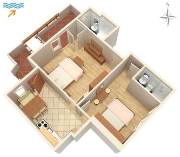 Supetarska Draga - Donja, Půdorys v ubytování typu apartment, domácí mazlíčci povoleni a WiFi.