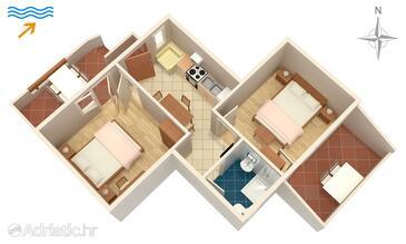 Supetarska Draga - Donja, Plan in the apartment, (pet friendly) and WiFi.