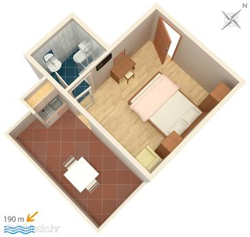 Kampor, Plan in the studio-apartment, (pet friendly) and WiFi.