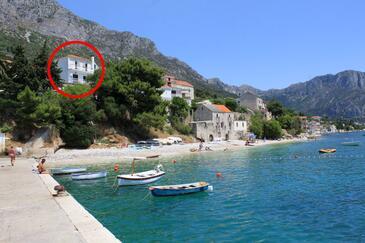 Brist, Makarska, Objekt 505 - Ubytování v blízkosti moře s oblázkovou pláží.