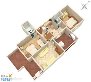Suha Punta, Plan in the apartment, dopusteni kucni ljubimci i WIFI.