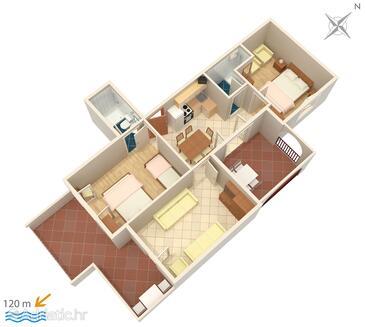 Suha Punta, Půdorys v ubytování typu apartment, domácí mazlíčci povoleni a WiFi.