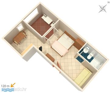 Suha Punta, Plan in the studio-apartment, dopusteni kucni ljubimci i WIFI.