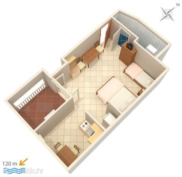 Suha Punta, План в размещении типа studio-apartment, Домашние животные допускаются и WiFi.