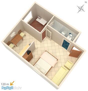 Suha Punta, Půdorys v ubytování typu studio-apartment, domácí mazlíčci povoleni a WiFi.