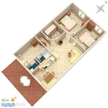 Jezera, Půdorys v ubytování typu apartment, domácí mazlíčci povoleni a WiFi.