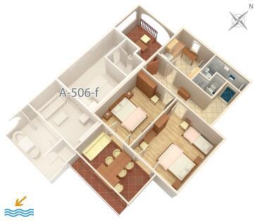 Brist, Půdorys v ubytování typu apartment, domácí mazlíčci povoleni a WiFi.
