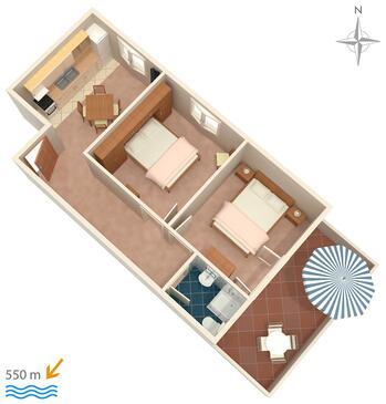 Barbat, Plan kwatery w zakwaterowaniu typu apartment, dopusteni kucni ljubimci i WIFI.